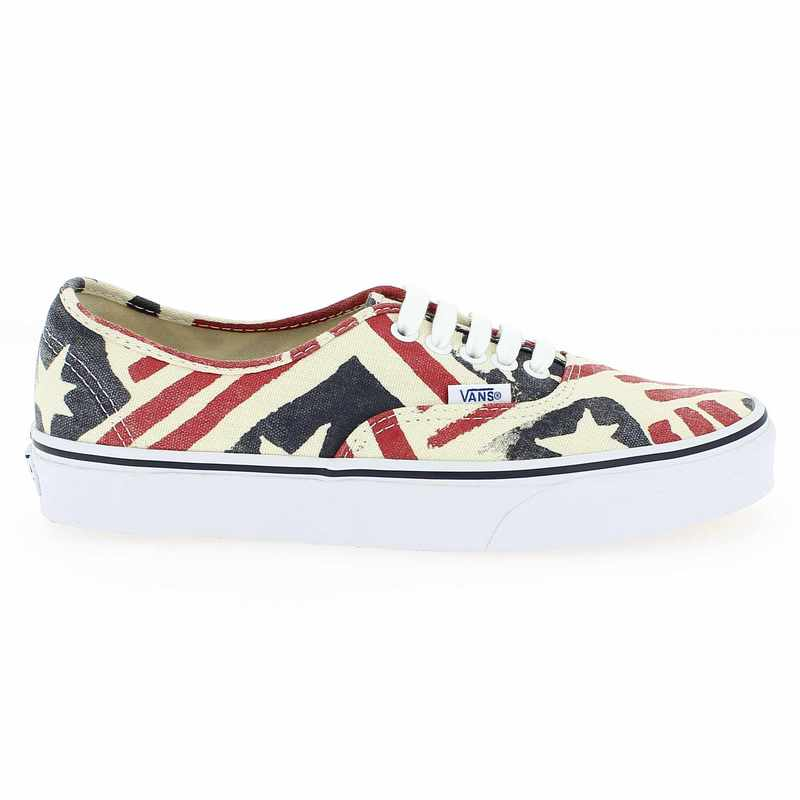 Chaussure Vans AUTHENTIC RETRO FLAG Multi couleur Blanc Rouge - vue 1