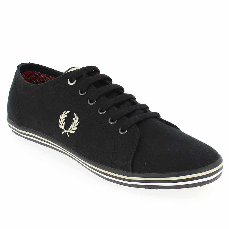 chaussure fred perry kingston twill tipped noir 4113302 pour homme jef chaussures. Black Bedroom Furniture Sets. Home Design Ideas
