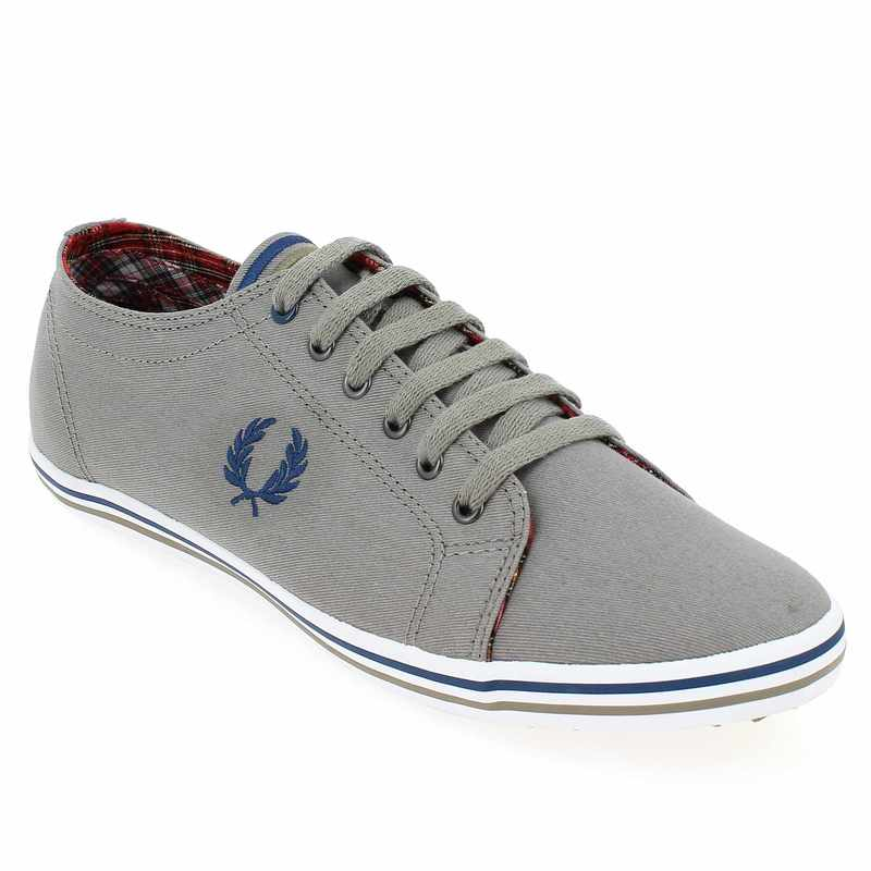chaussure fred perry kingston twill tipped gris 4113303 pour homme jef chaussures. Black Bedroom Furniture Sets. Home Design Ideas