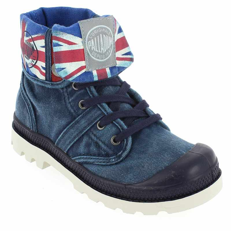 chaussure palladium baggy kid flag bleu 4269301 pour enfant garcon jef chaussures. Black Bedroom Furniture Sets. Home Design Ideas