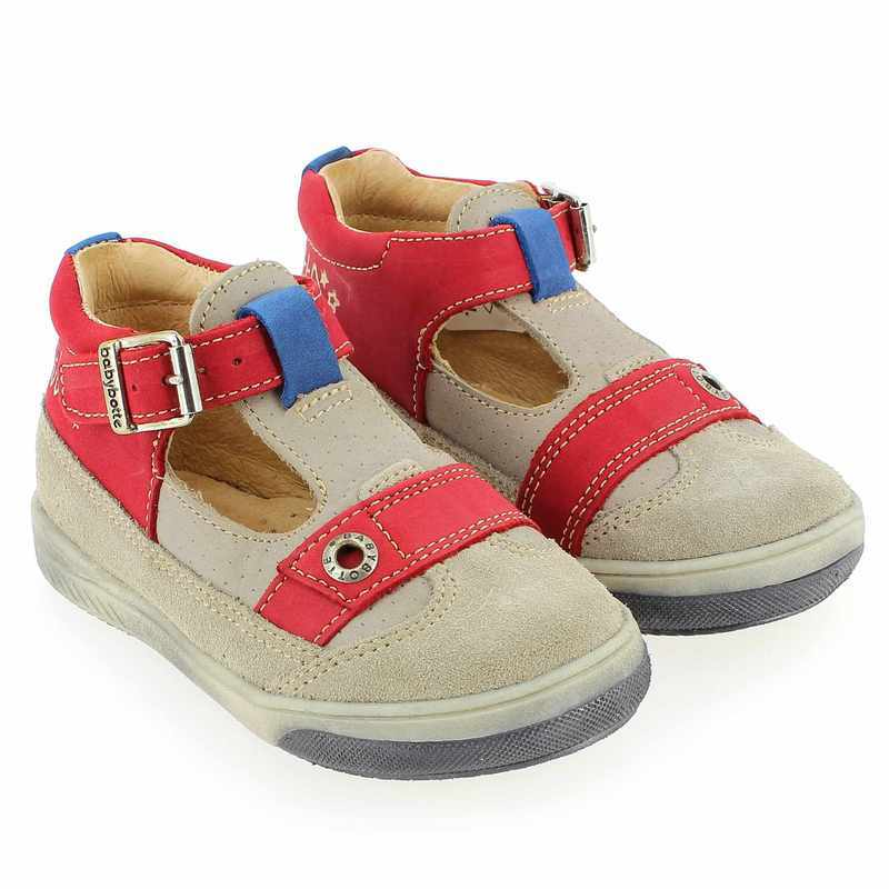 Chaussure Babybotte SHARK Beige couleur Taupe Rouge - vue 0