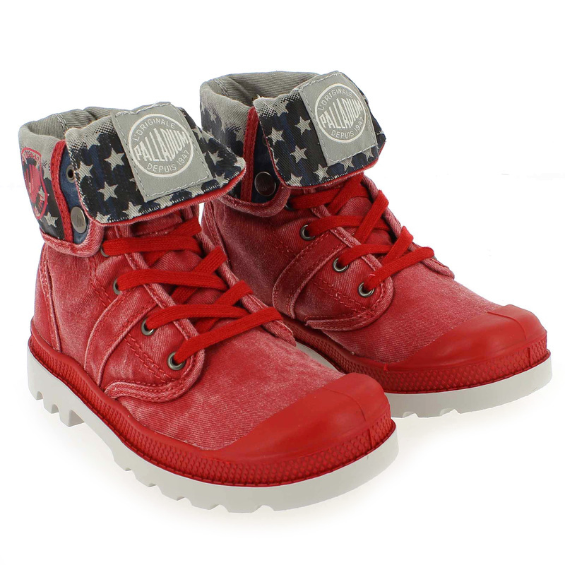 Chaussure Palladium BAGGY KID FLAG Rouge couleur Rouge - vue 0