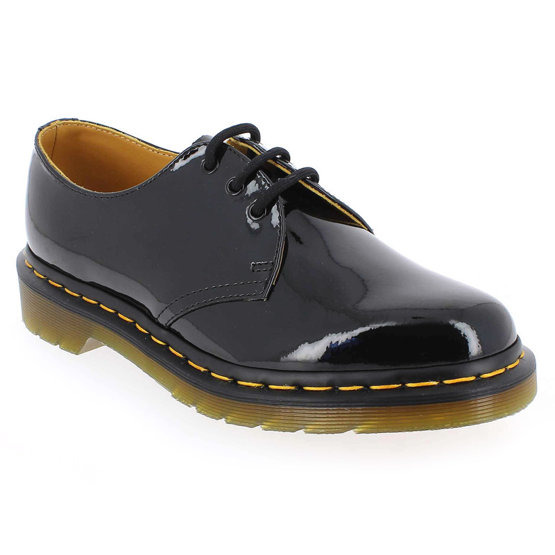 chaussure dr martens 1461 vernis noir 4785701 pour femme jef chaussures. Black Bedroom Furniture Sets. Home Design Ideas