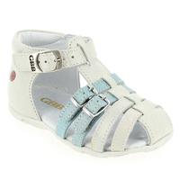 Chaussure GBB modèle ISEE, Blanc Turquoise - vue 0