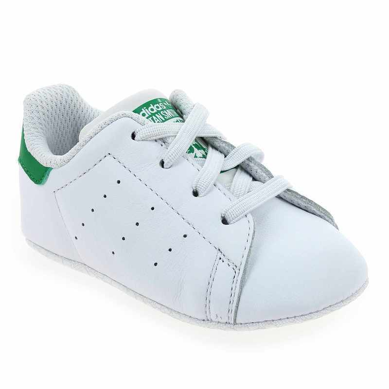 best website 82071 63ece ... ireland chaussure adidas originals modèle stan smith crib blanc vert vue  0 7c595 6f853