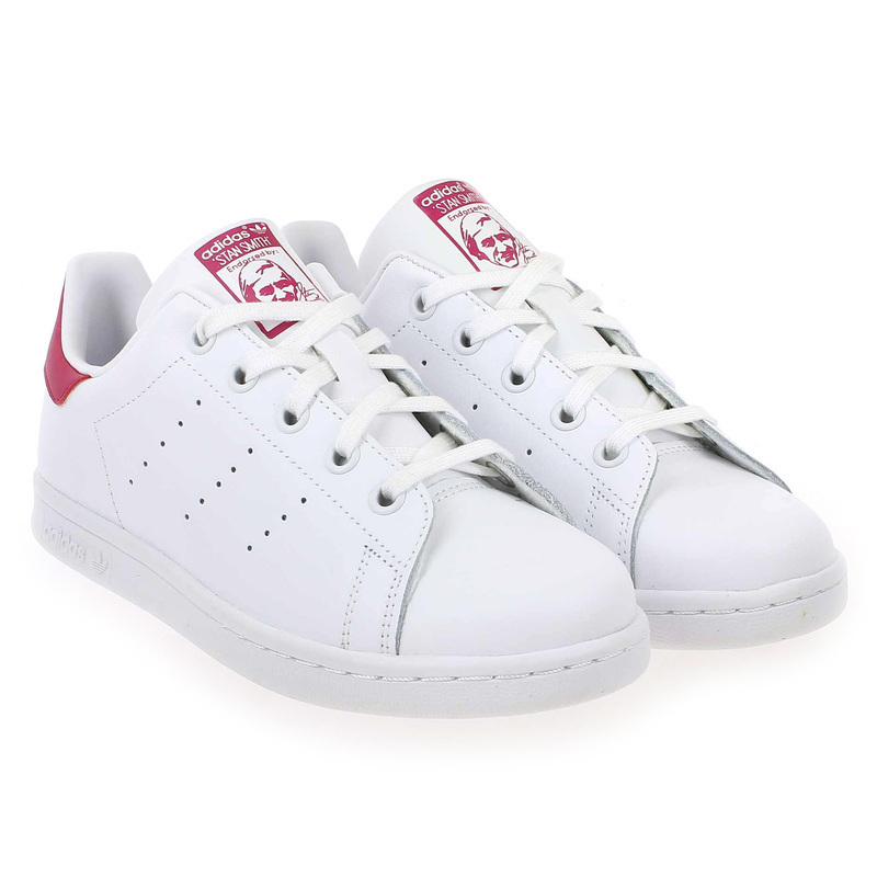 Chaussure Adidas Originals STAN SMITH J Blanc couleur Blanc Rose - vue 0