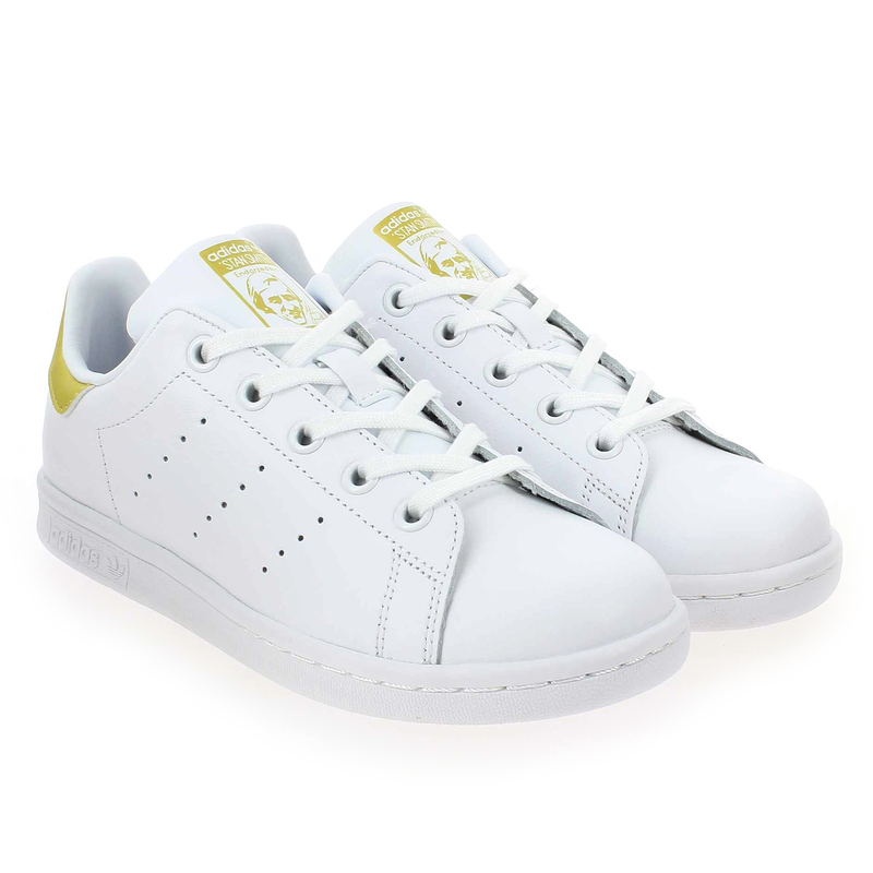 Chaussure Adidas Originals STAN SMITH J Blanc couleur Blanc Or - vue 0