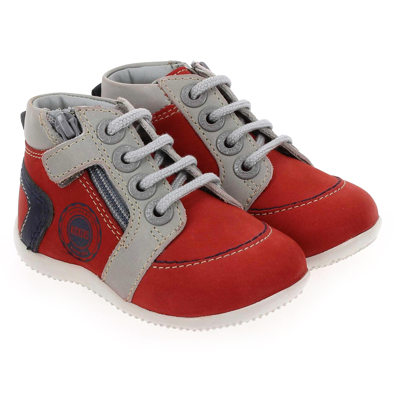 Chaussure Kickers BAMBY rouge couleur Rouge Gris - vue 0