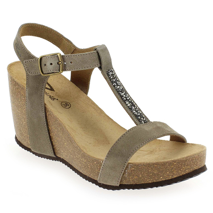 Chaussure Reqins modèle QARLY, Velours Taupe - vue 0