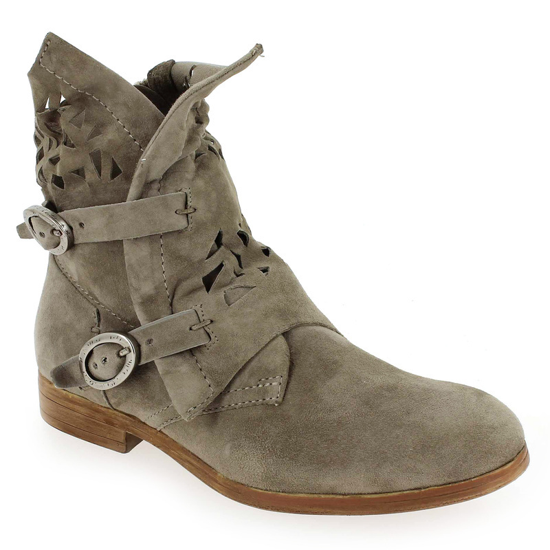 We Do Boots cuir velours Taupe - Chaussures Boot Femme