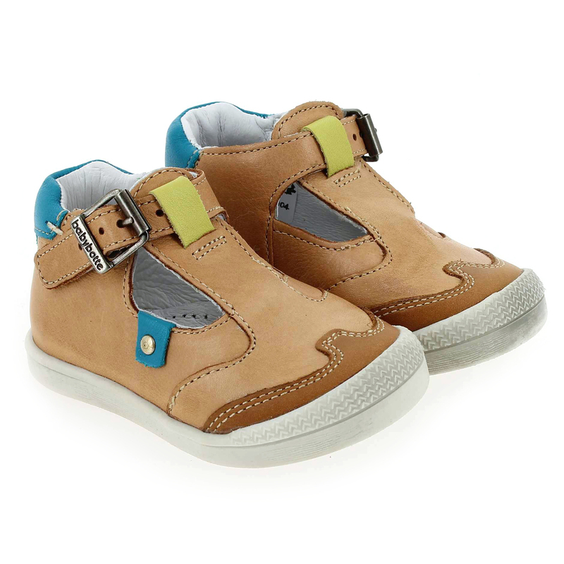 Chaussure Babybotte PUDDING Camel couleur Camel Turquoise - vue 0