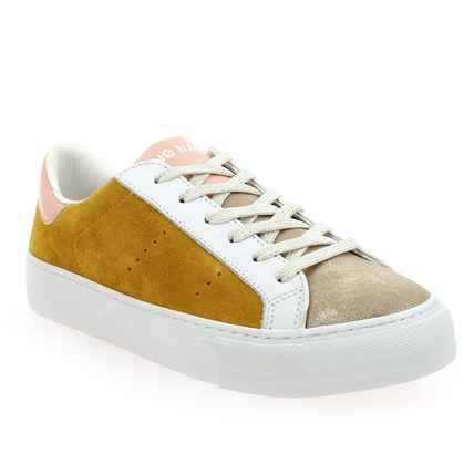 Chaussure No Name modèle ARCADE SNEAKER GLOOM SUEDE, Jaune Platine - vue 0
