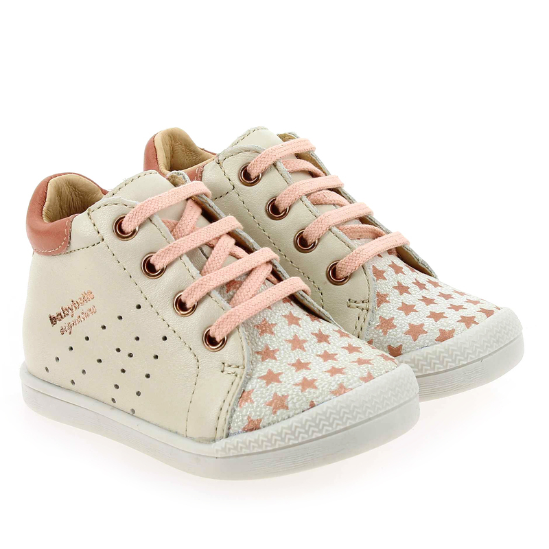 Chaussure Babybotte FASTY blanc couleur Ivoire Rose - vue 0